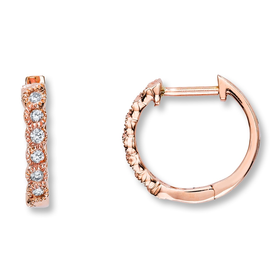 Kay Diamond Hoop Earrings 1 8 ct tw Round Cut 10K Rose Gold
