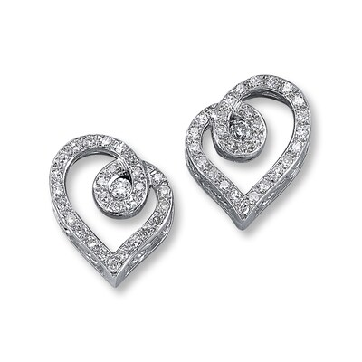 Diamond Heart Earrings 1/5 ct tw Round-cut Sterling Silver Love's Embrace