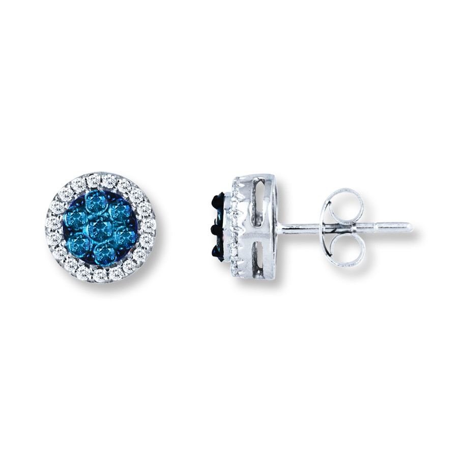 Kay  Blue Diamond Earrings 1/2 ct tw RoundCut 10K White Gold