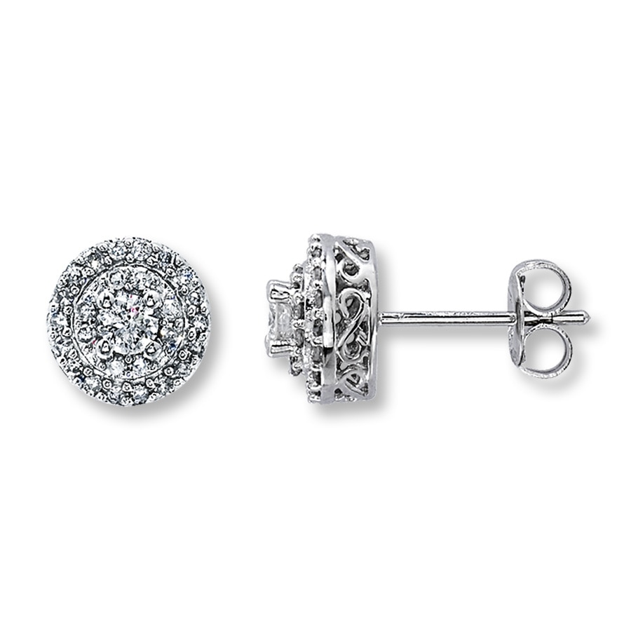 Diamond Framed Earrings 1 2 Ct Tw Round Cut 10k White Gold