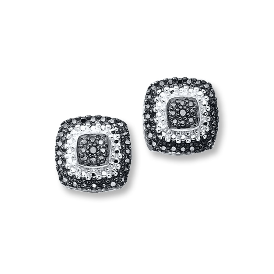 Black Diamond Earrings Sterling Silver