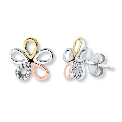 Flower Earrings 1/15 ct tw Diamonds Sterling Silver/10K Gold