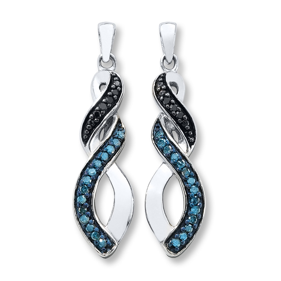 kay blue black diamonds 1 6 ct tw earrings sterling silver