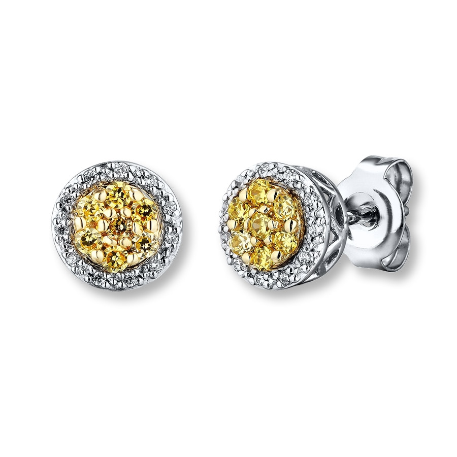 cushion halo canaryearringsfront pave canary diamond earrings fancy cut pav yellow