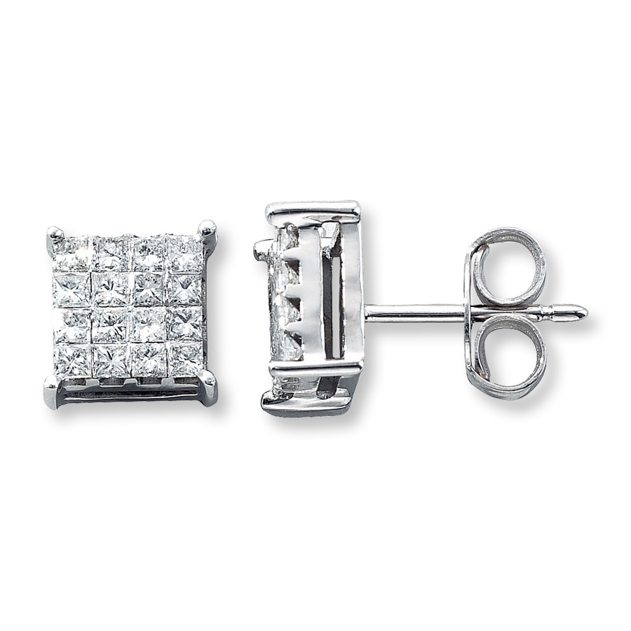 ctw illusion square set gold white earrings cut diamond stud in