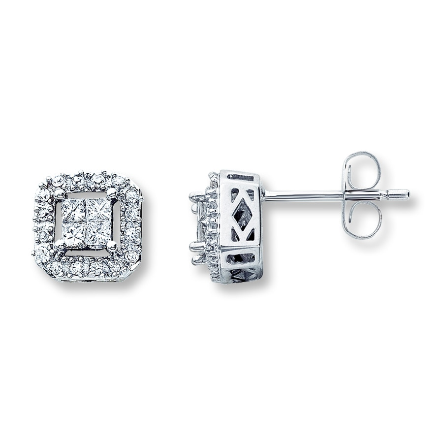 Diamond Earrings 1 4 Ct Tw Princess Cut 10k White Gold Tap To Expand