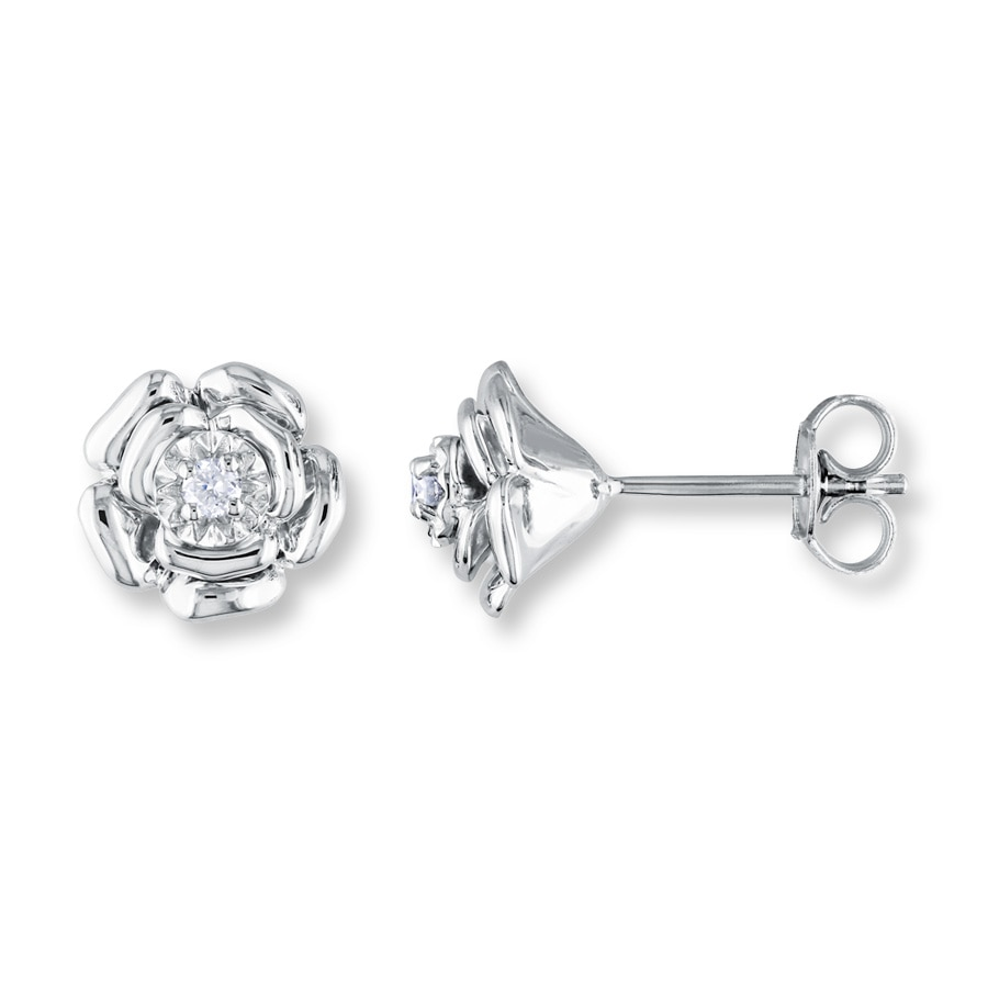 Diamond Flower Earrings 1 20 Ct Tw Round Cut Sterling