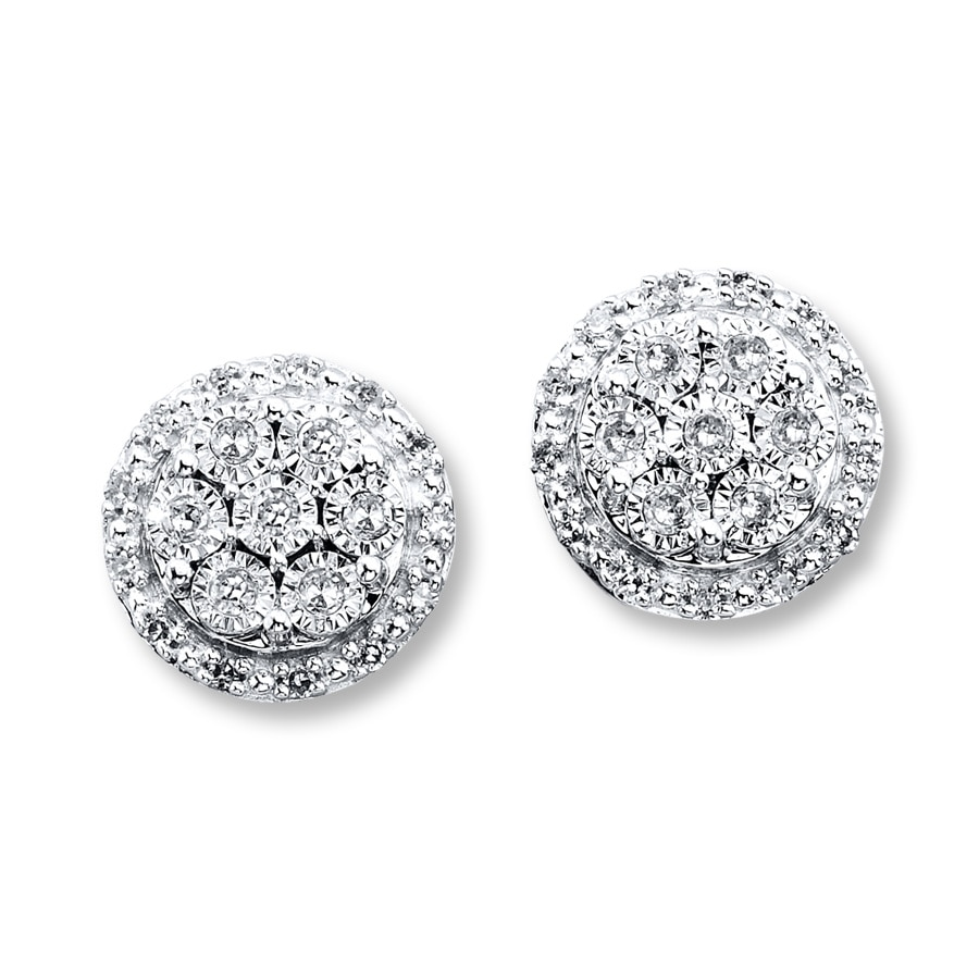 Diamond Earrings 1 5 Ct Tw Round Cut 10k White Gold