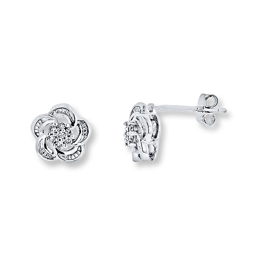 Large View Diamond Flower Earrings