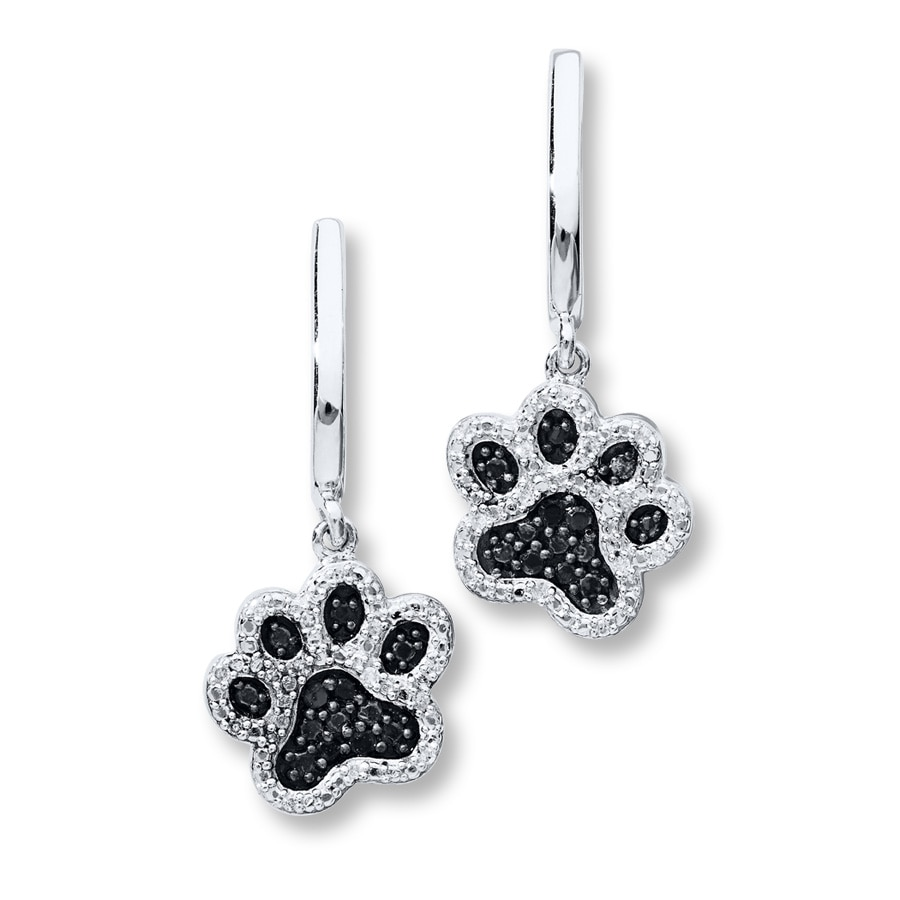 Paw Print Earrings 16 Ct Tw Diamonds Sterling Silver 181593702 Kay