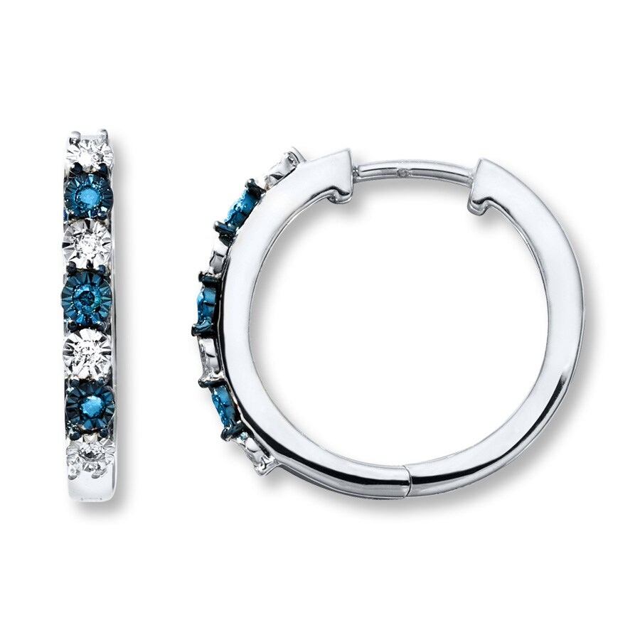 Artistry Diamonds Blue & White Diamonds 1/10 ct tw Earrings Sterling Silver Hoops VhChAIntqW