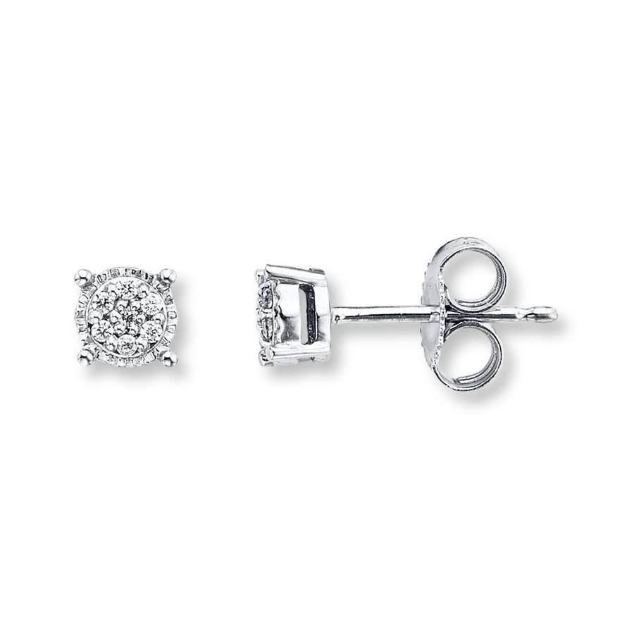 Kay Diamond Stud Earrings 1 20 Ct Tw Round Cut Sterling