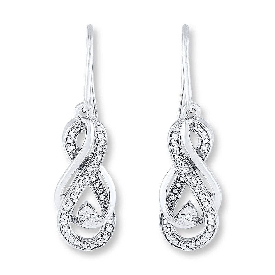 Diamond Infinity Earrings 1 15 Ct Tw Round Cut Sterling
