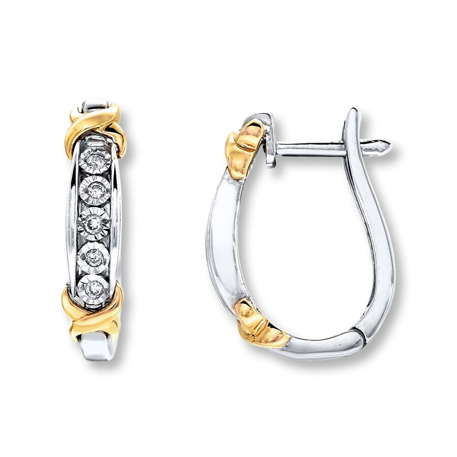 Diamond Hoop Earrings 1 10 Carat Tw Sterling Silver 10k Gold Tap To Expand Large View