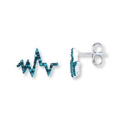 Heartbeat Earrings 1/10 ct tw Blue Diamonds Sterling Silver