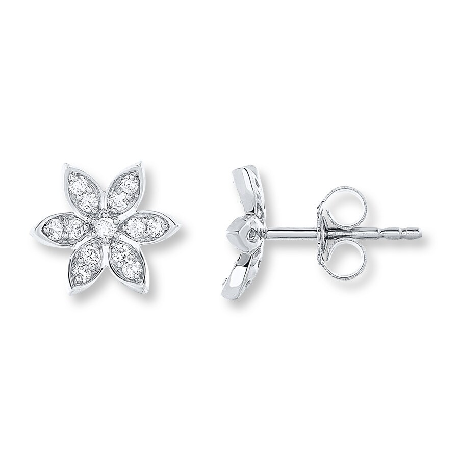 ef7a6e729 Diamond Flower Earrings 1/3 ct tw Round-cut 10K White Gold. Tap to expand