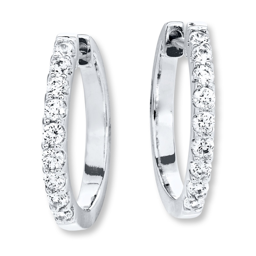 Hoop Earrings 1 2 Ct Tw Diamonds 14k White Gold Tap To Expand
