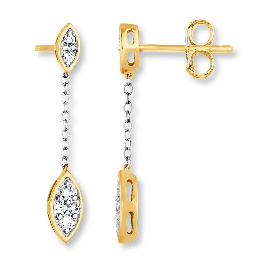 33afacbd1 Chain Earrings 1/3 ct tw Diamonds 10K Two-Tone Gold - 182053506 - Kay
