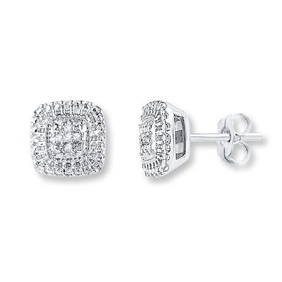 Diamond Earrings 1/20 ct tw Round-cut Sterling Silver