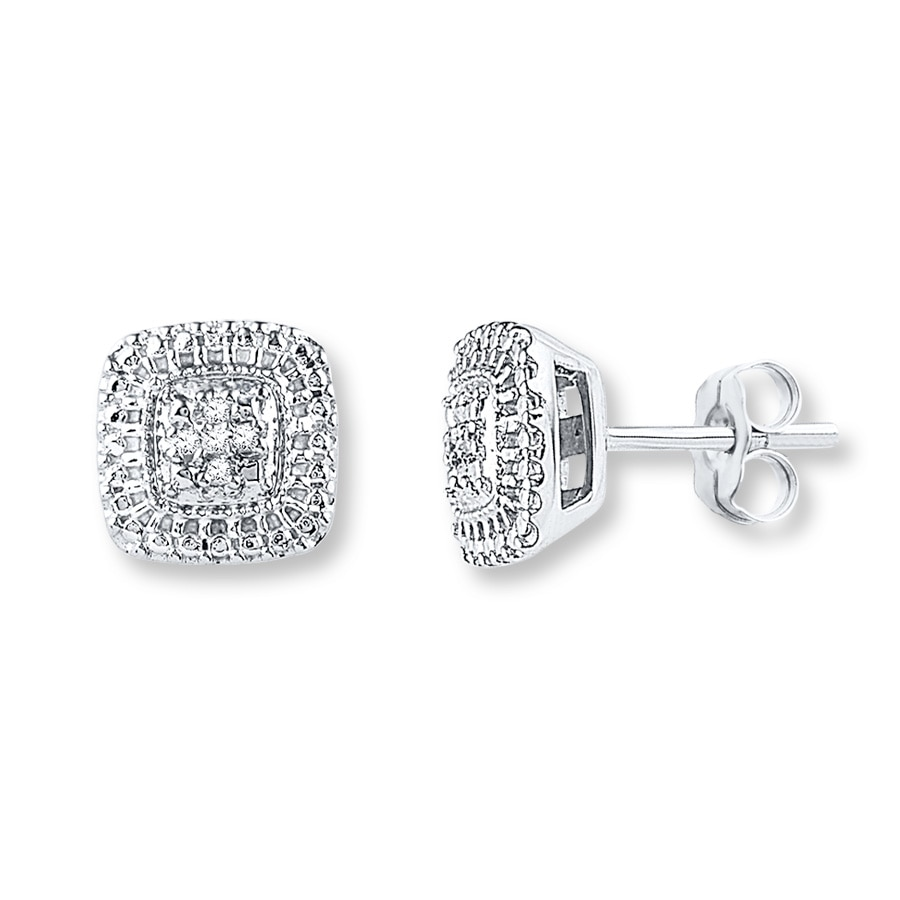 Diamond Earrings 1 20 Ct Tw Round Cut Sterling Silver Tap To Expand