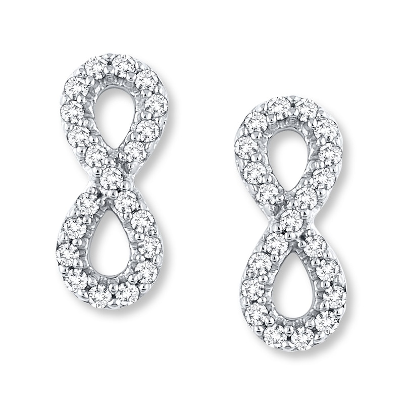 Diamond Infinity Earrings 1 4 Ct Tw Round Cut 10k White Gold Kay