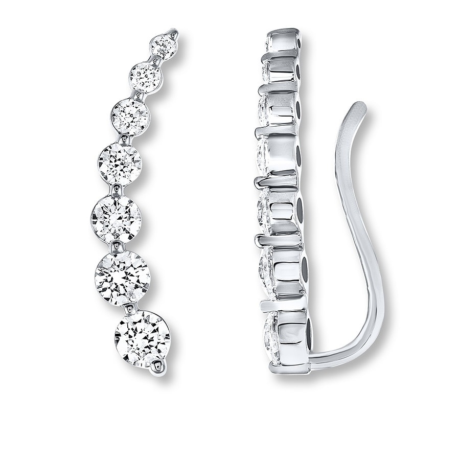 5cb2dd1c271b32 Leo Diamond Climber Earrings 1-1/5 carats tw 14K White Gold ...