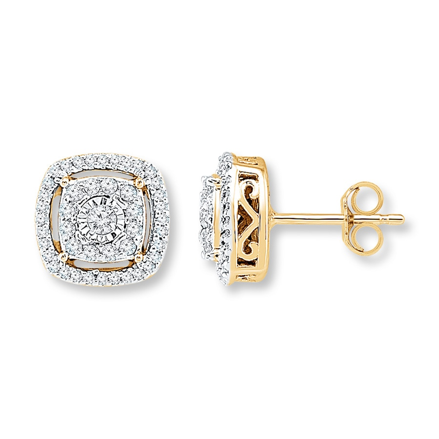 Diamond Earrings 1 4 Ct Tw Round Cut 10k Yellow Gold Tap To Expand