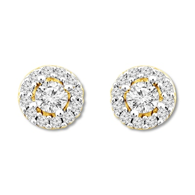 Diamond Earrings 1/2 ct tw Round-cut 10K Yellow Gold