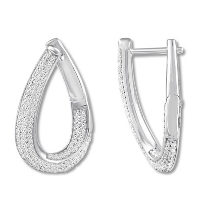Diamond Hoop Earrings 3/8 ct tw Round-cut 10K White Gold