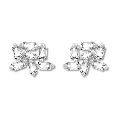 Baguette Diamond Cluster Earrings 1/5 ct tw Sterling Silver