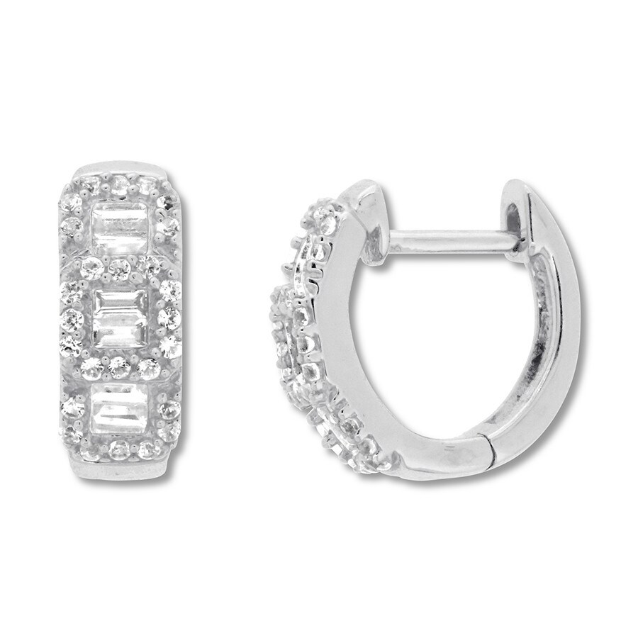 8660e0671 Diamond Hoop Earrings 1/2 ct tw Round/Baguette 10K White Gold ...