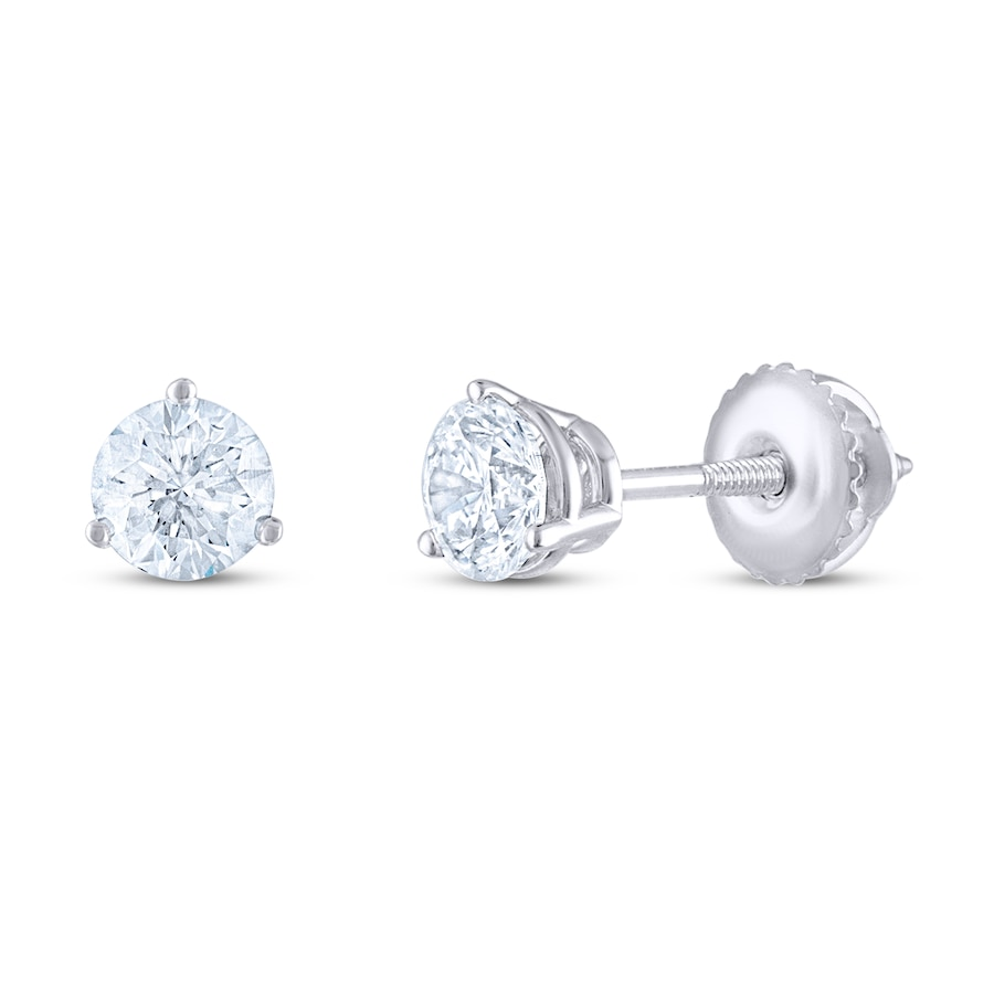 Leo Diamond Earrings 1 Ct Tw Round Cut 14k White Gold