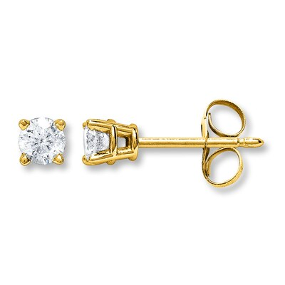 Diamond Earrings 3/4 ct tw Round-cut 14K Yellow Gold
