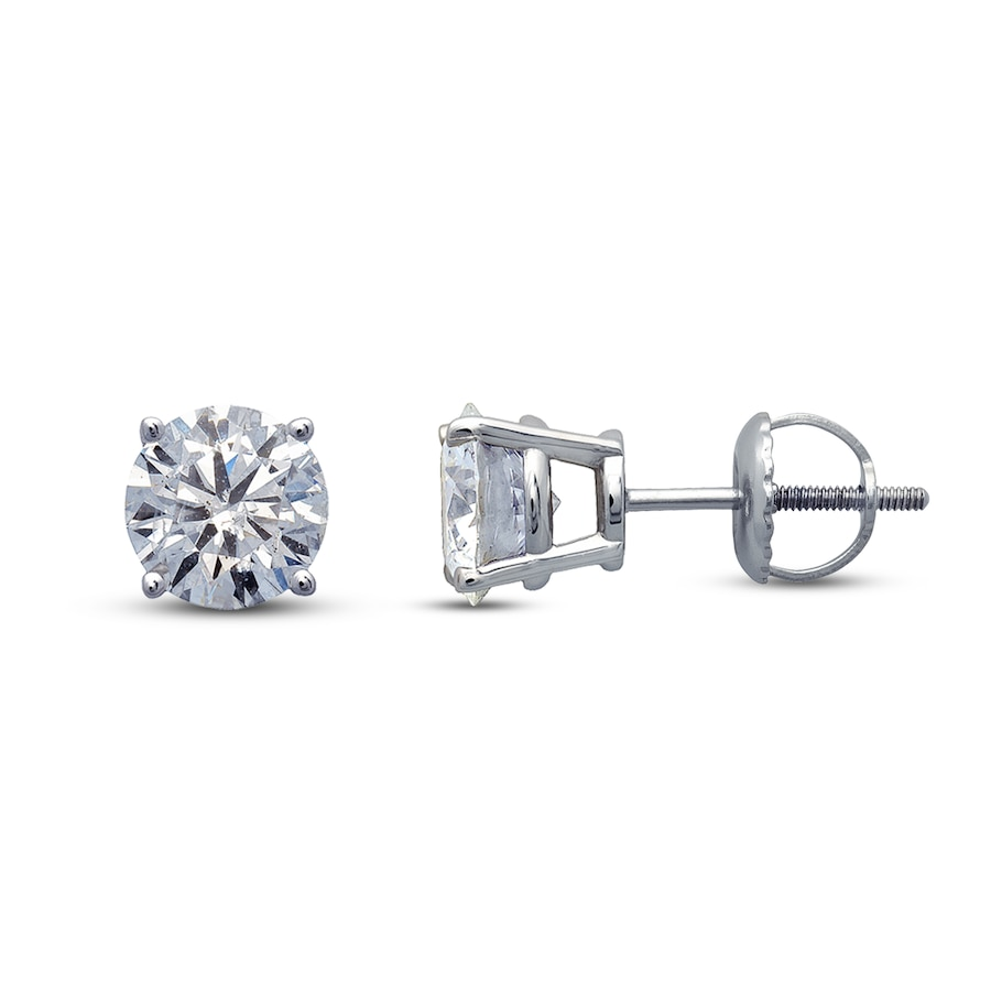 Diamond Earrings 1 Ct Tw Round Cut 14k White Gold