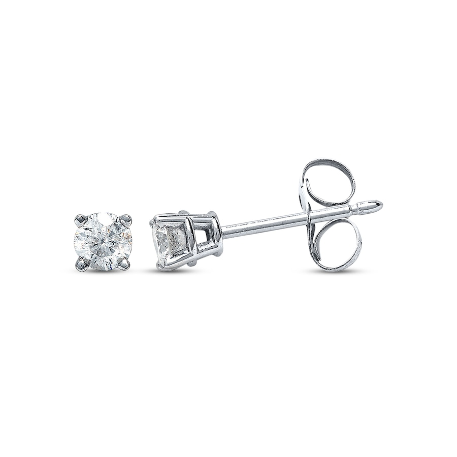 Diamond Earrings 1 3 Ct Tw Round Cut 14k White Gold