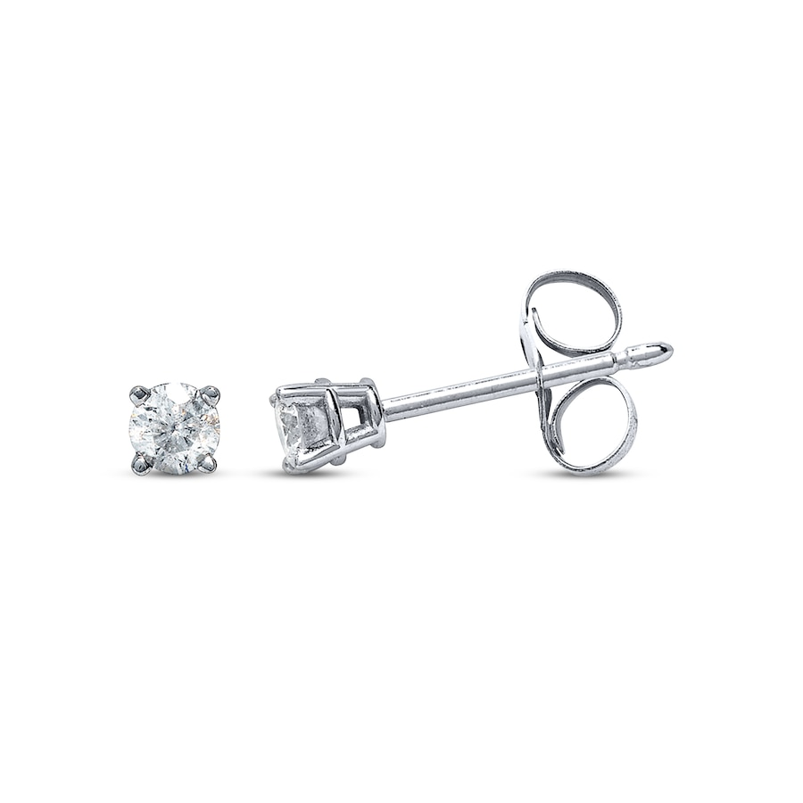 Diamond Earrings 1 10 Ct Tw Round Cut 14k White Gold