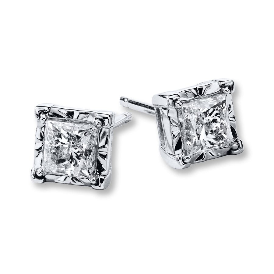 Diamond Earrings 3 4 Ct Tw Princess Cut 10k White Gold