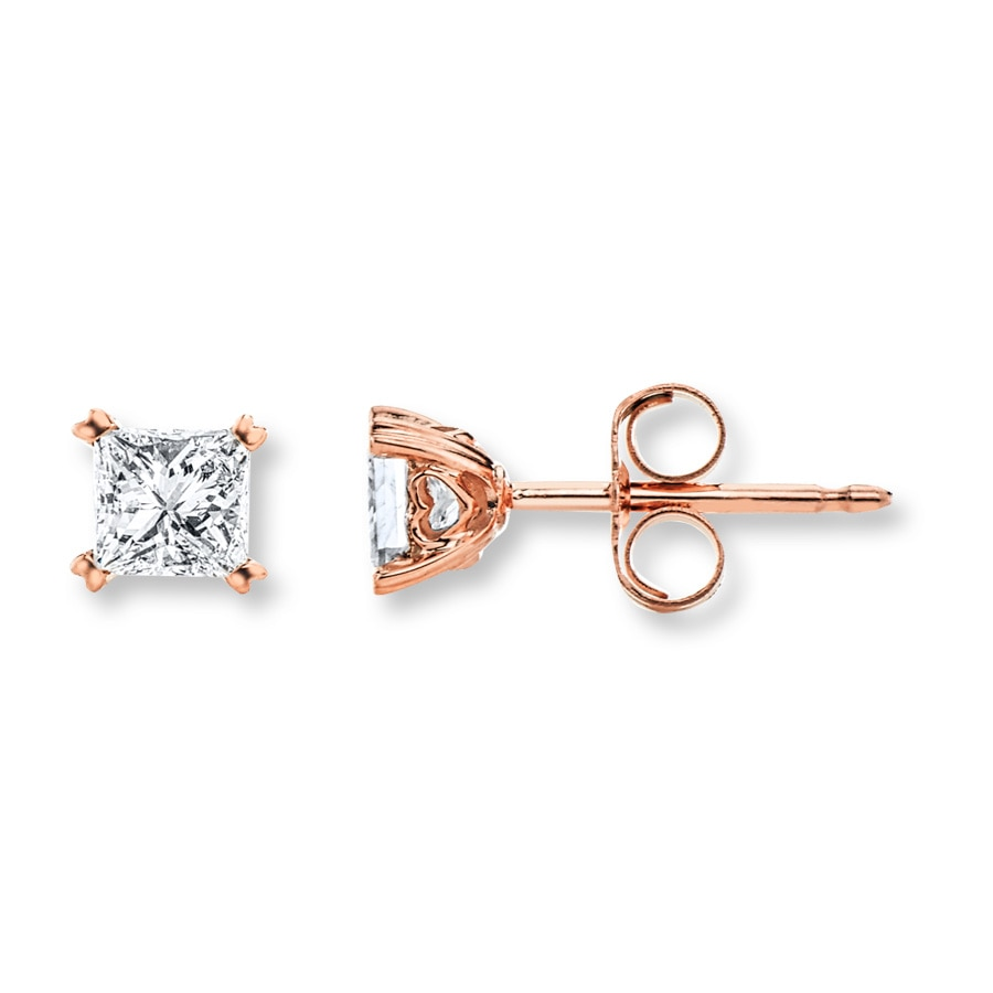 Diamond Earrings 1 2 ct tw Princess-cut 14K Rose Gold - 200434203 - Kay 9621dd61e3