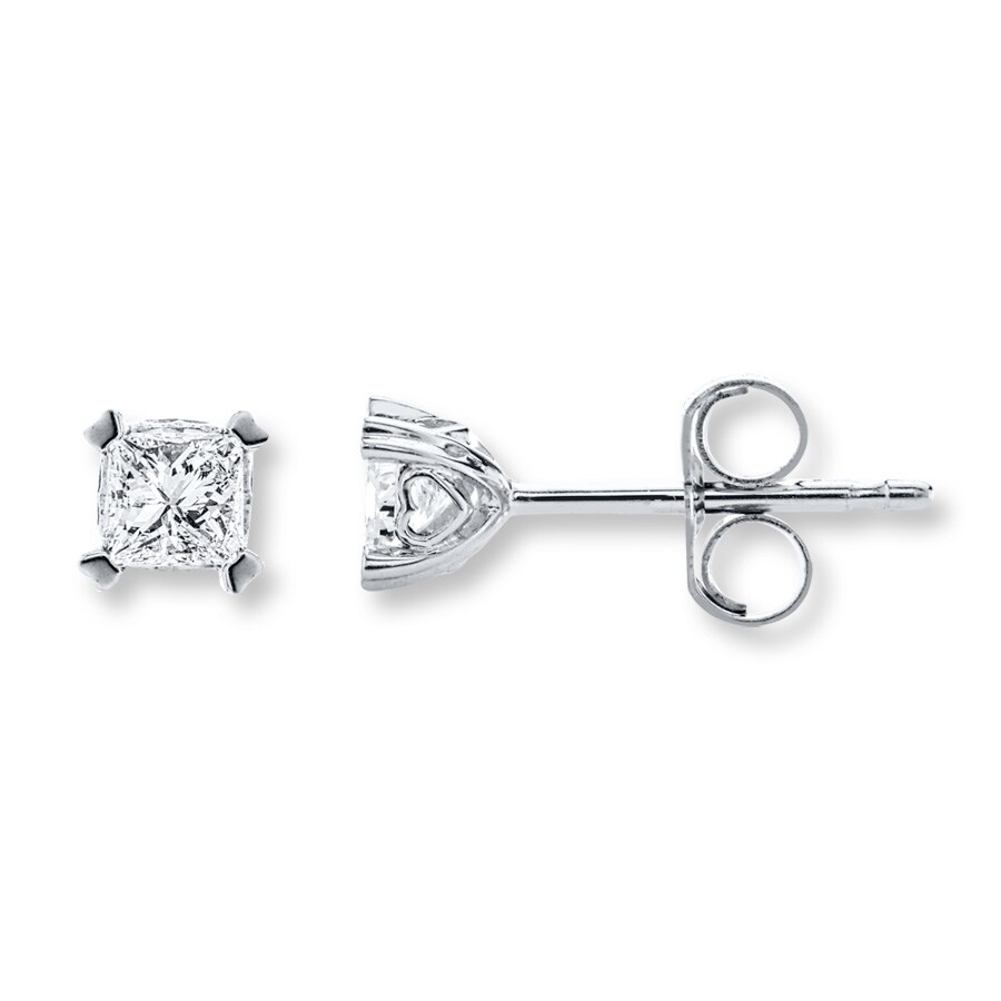 Diamond Earrings 1 2 Ct Tw Princess Cut 14k White Gold Tap To Expand