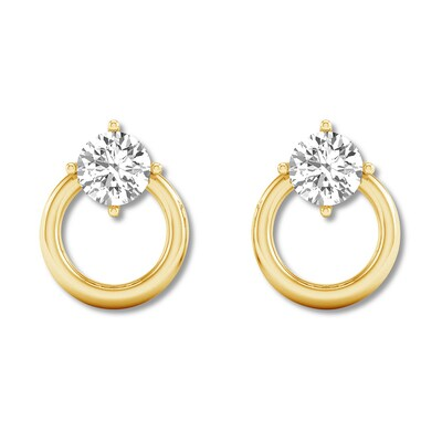 Diamond Solitaire Earrings 1/2 ct tw Round-cut 14K Yellow Gold