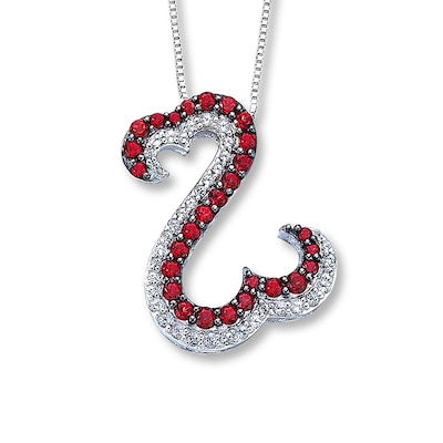 Open Hearts Necklace Red & White Topaz Sterling Silver Jane Seymour