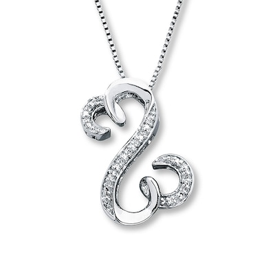 Open Hearts Necklace 1/20 ct tw Diamonds Sterling Silver Jane Seymour