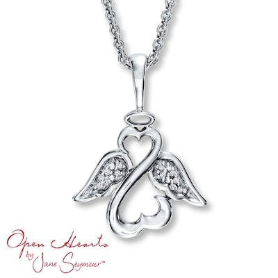 Open Heart Angel Necklace Diamond Accents Sterling Silver Jane Seymour