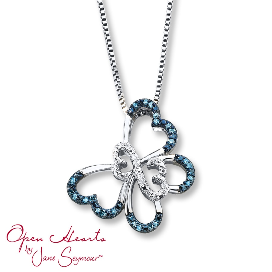 Open Hearts Erfly Blue Diamonds Sterling Silver Necklace