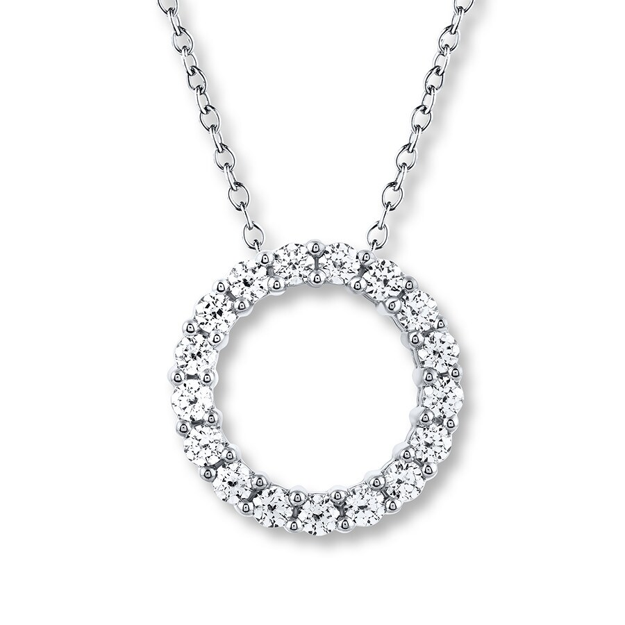 1db02ac01c628 Leo Diamond Circle Necklace 1 ct tw Round-cut 14K White Gold