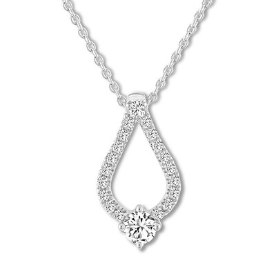 Leo Diamond Necklace 3/8 ct tw Round-cut 14K White Gold 19""