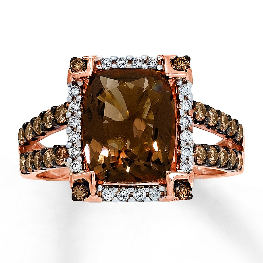 Kay  Le Vian Chocolate Quartz 1/2 ct tw Diamonds 14K Gold Ring