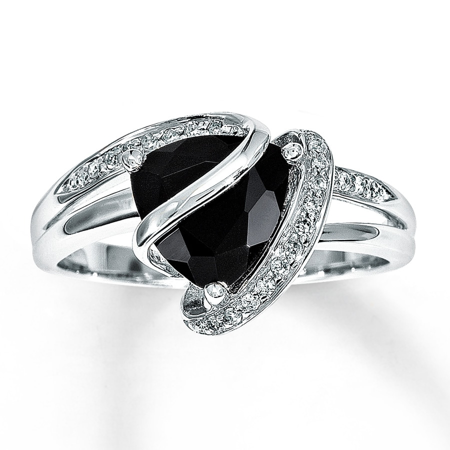 kay black onyx ring 1 10 ct tw diamonds sterling silver - Black Onyx Wedding Ring