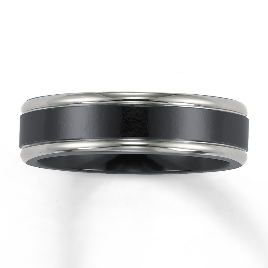 mens band black titanium mens titanium wedding band Hover to zoom