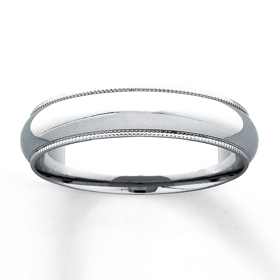 Mens Wedding Band 10K White Gold 5mm